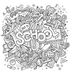 Cartoon cute doodles school vector