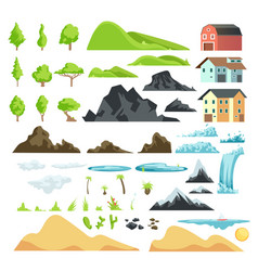Cartoon landscape elements with mountains vector