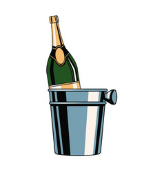 champagne bottle in ice bucket vector image vector image