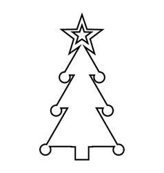 Christmas tree with toys icon outline style vector
