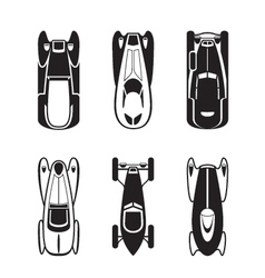 Classic and retro cars from above vector image