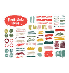 Collection of colorful brush strokes paint traces vector