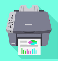 Color office printer icon flat style vector