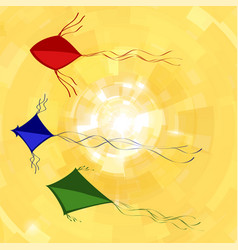 colored kites flying in sky with sun freedom vector image