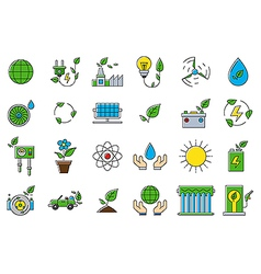 Colorful eco icons set vector