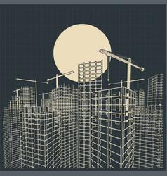 construction industry blueprint vector image