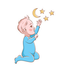 Cute baby boy playing happy child vector