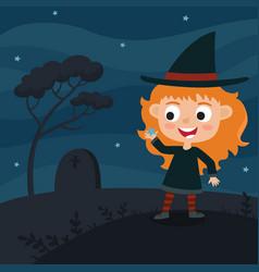 cute cartoon kid in colorful halloween vector image