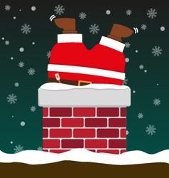 Cute fat big Santa Claus stuck in chimney vector