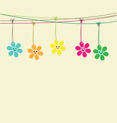 Cute flowers hanging on string vector