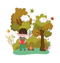 cute kid hello autumn design vector image
