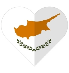 Cyprus flat heart flag vector image