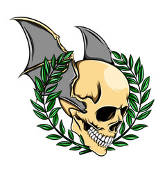 death skull head with bat wings and the vector image