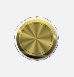 dial knob realistic gold button vector image