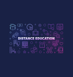 distance education line colored horizontal vector image