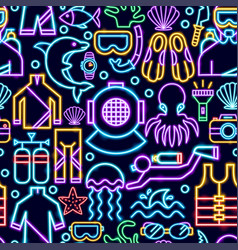 diving seamless neon pattern vector image