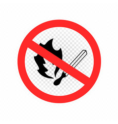 do not make fire sign icon transparent vector image
