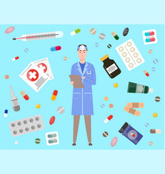doctor or pharmacologist with forehead mirror vector image