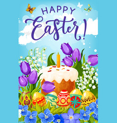 easter cake eggs and flowers religious holiday vector image