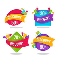 Ector collection of bright discount tags banners vector