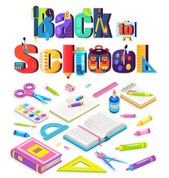 Educating poster back to school chancery vector