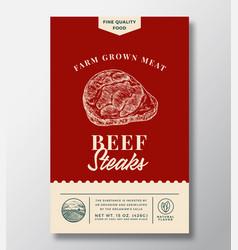 Farm grown beef steak abstract packaging vector