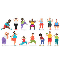 Fat cute people doing fitness exercise training vector