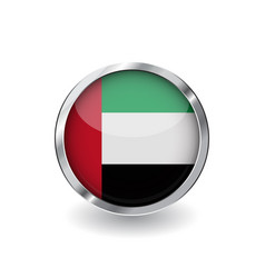 flag of united arab emirates button with metal vector image