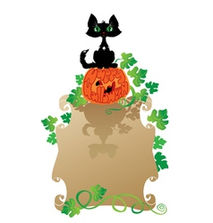 Funny Halloween Cat and Pumpkin vector image
