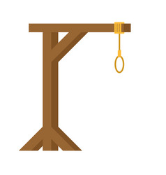 Gallows are isolated wooden post and loop vector