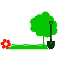 garden background with tree shovel grass and vector image vector image