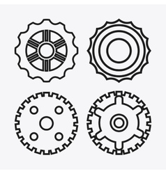 gear white cog machine part set design vector image
