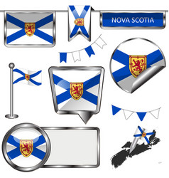 glossy icons with flag of province nova scotia vector image