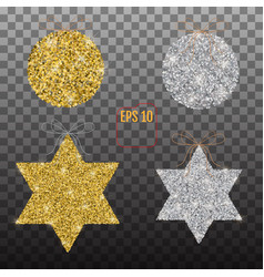 Golden and silver christmas stars and balls vector