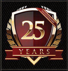 Golden shield anniversary 25 years vector