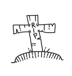 grave icon doodle hand drawn or black outline vector image