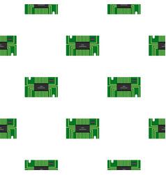 Green microchip pattern flat vector