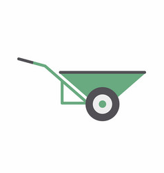 Green wheelbarrow icon vector