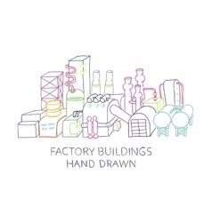 Hand draw of factory buildings vector image