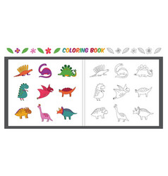 happy cartoon dinosaurs - coloring book vector image