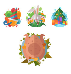 Happy holidays different icons holidays vector