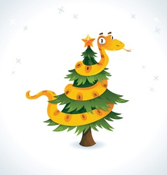 Happy snake on the christmas tree vector image