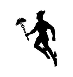 Hermes greek god silhouette mythology symbol vector
