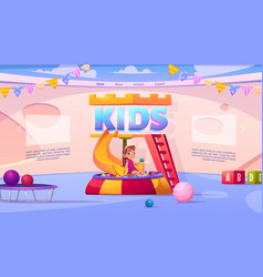 Kids playroom cartoon landing page girl playing vector