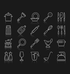 kitchenware simple white line icons set vector image