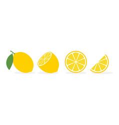 lemon slice citrus fruit flat icon lemon vector image