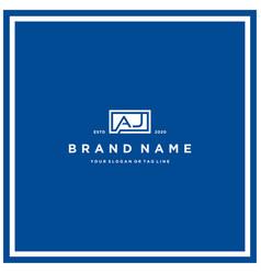 Letter aj rectangle logo design vector