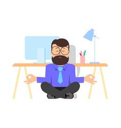 Man is meditating sitting vector