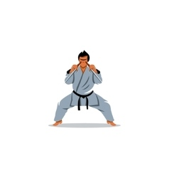 Man karate in kimono holding a pair of sai sign vector image