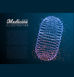 medicine pill mesh wireframe pill vector image